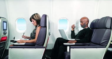 Premium economy seating on a Virgin Atlantic flight.