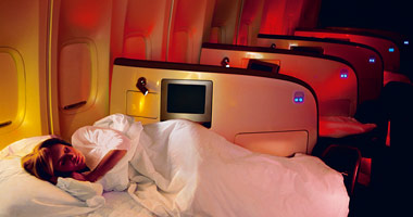 Upper Class seating and sleeping arrangement on a Virgin Atlantic flight.