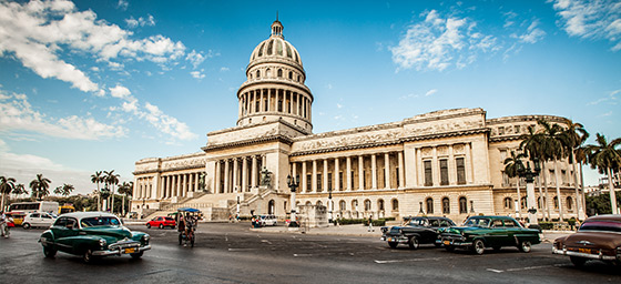 Capitol Building and Streetscape in Havana, Cuba
