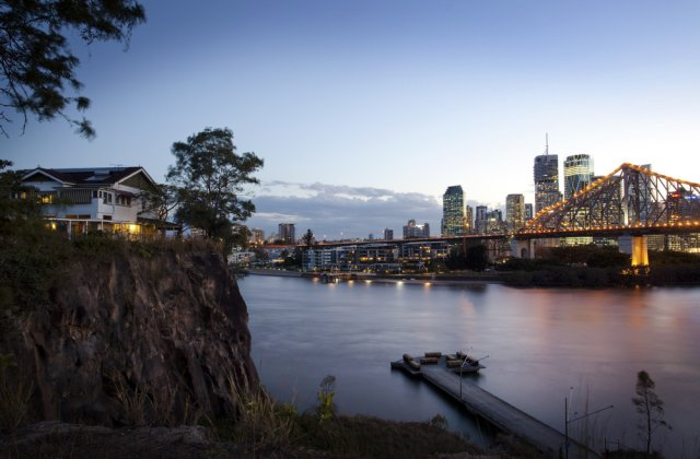 Looking across the Brisbane River to the CBD at dusk.