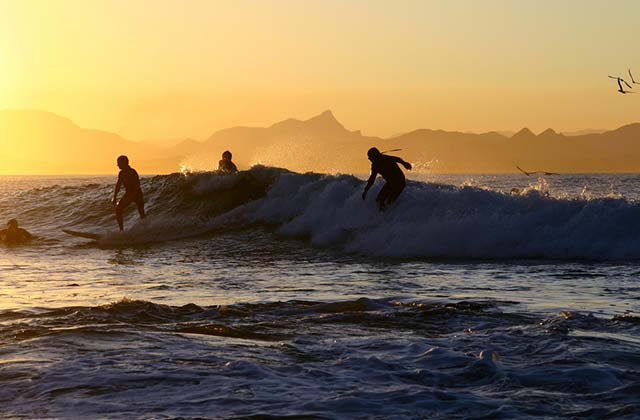 Surfers riding the waves