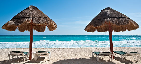 Cancun: Beach Palapas