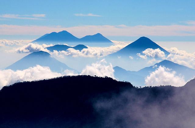 Volcanoes, outside Quetzaltenango, Guatemala
