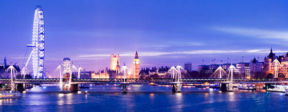 Panorama of the city of London including the London Eye, Houses of Parliament and Big Ben