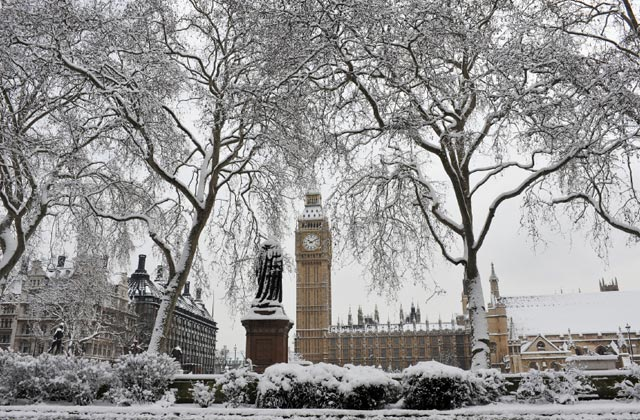 The Palace of Westminster under snow