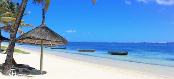 A view of a beach on the island of Mauritius, which can be toured with a cheap flight from Flight Centre.