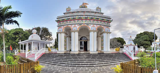 A view of the Hindu Temple at Triolet in Mauritius, which can be visited with a cheap flight from Flight Centre.