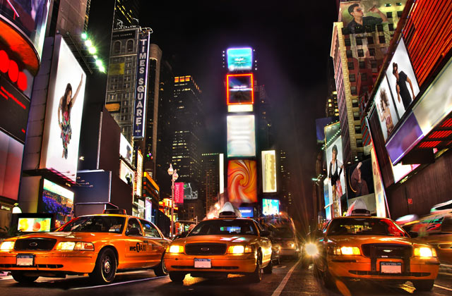 Taxis on Times Square