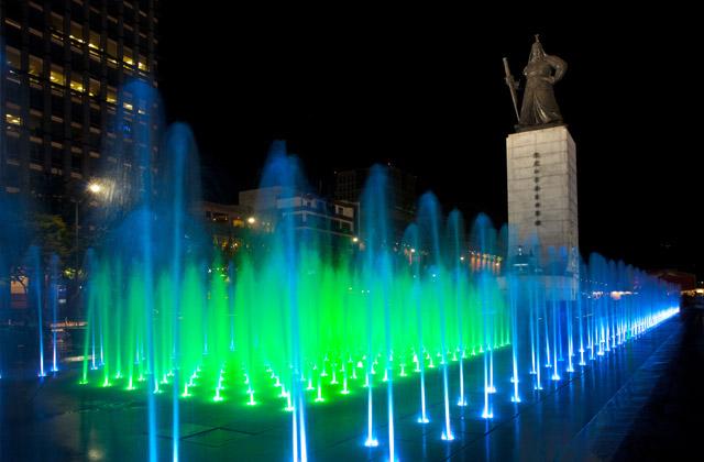 Angled Green Fountain and Yi Sun-Sin Statue