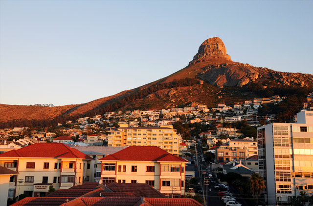 The sunset over Lions Head, Cape Town