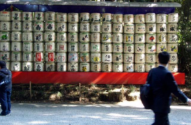 Empty sake barrels along the path to Meiji Shrine | by Flight Centre's Tiffany Apatu