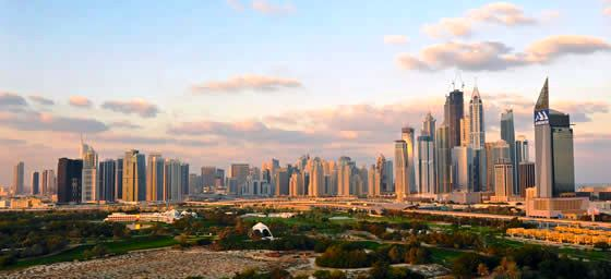 A view of the Dubai city skyline in the UAE, which can be enjoyed via a cheap flight from Flight Centre.