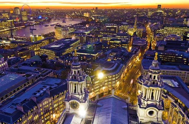 Cityscape at Night, London, England