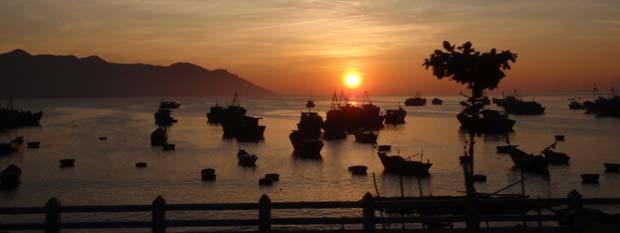 Vietnam bay at sunset